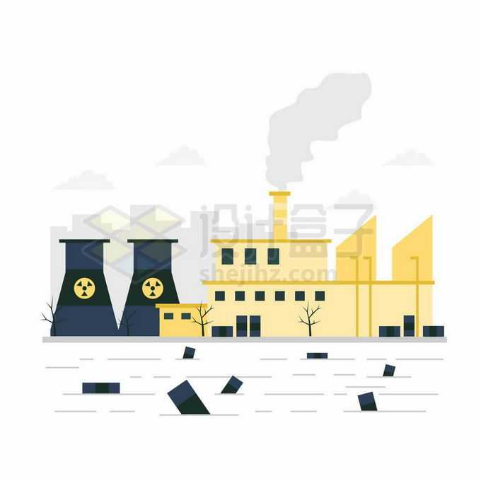 扁平化风格工厂污染大气和水源环境污染插画8289309向量图片素材