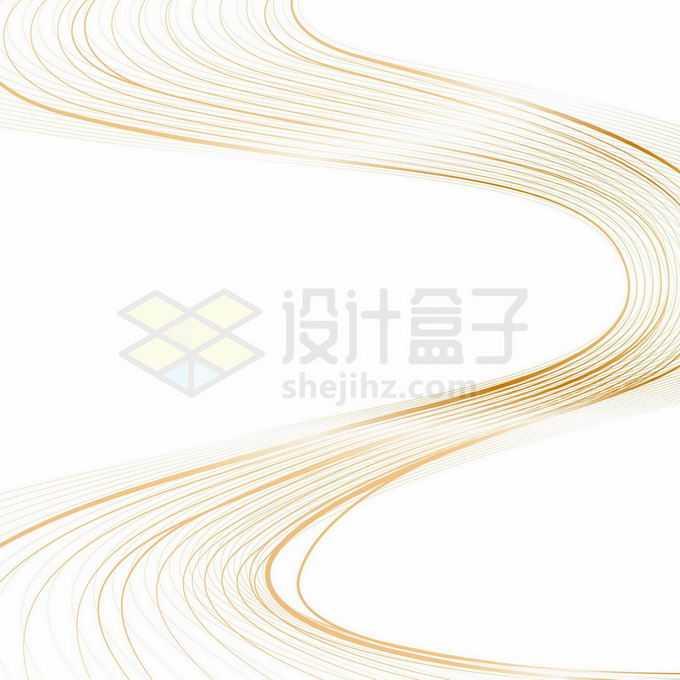 金色线性线条波浪线组成的S型曲线抽象装饰图案2740950向量图片素材