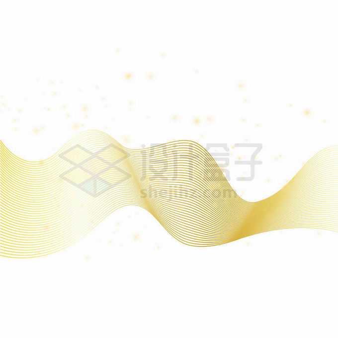 金色线性线条波浪线组成的曲线抽象装饰图案9073183向量图片素材