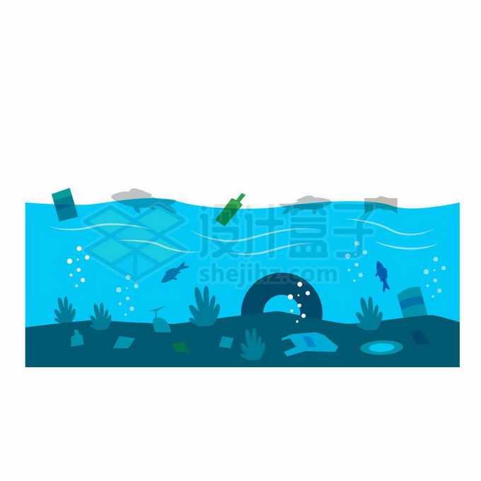 扁平化风格蓝色海水中的塑料污染海洋污染插画3294705向量图片素材