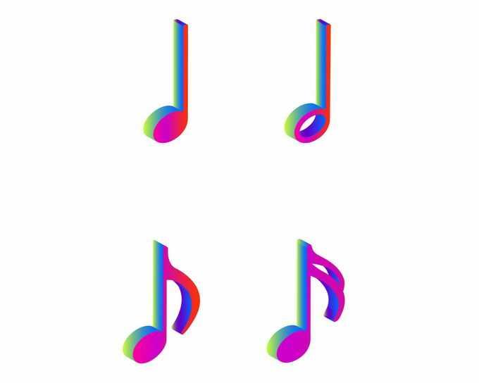 3D立体彩色渐变色风格音乐音符图案2987932矢量图片免抠素材免费下载