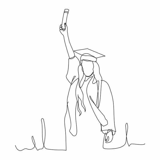 大学毕业生高举着毕业证书手绘线条插画6554087矢量图片免抠素材免费下载