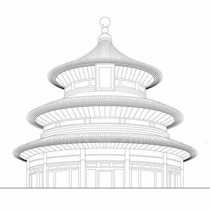 天坛传统建筑线条插画5337928矢量图片免抠素材免费下载