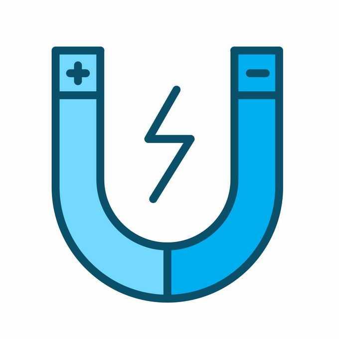 蓝色磁铁U型磁铁物理教学仪器图标5899341矢量图片免抠素材免费下载