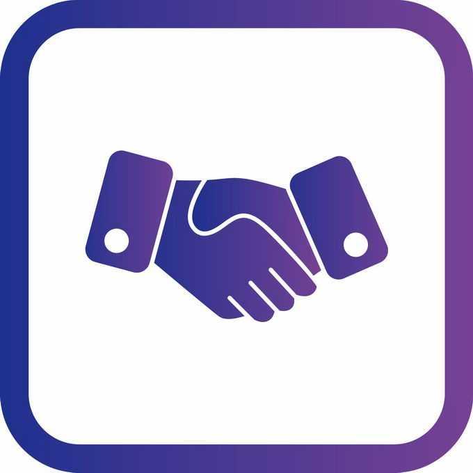 圆角紫色边框握手图标9749371矢量图片免抠素材免费下载