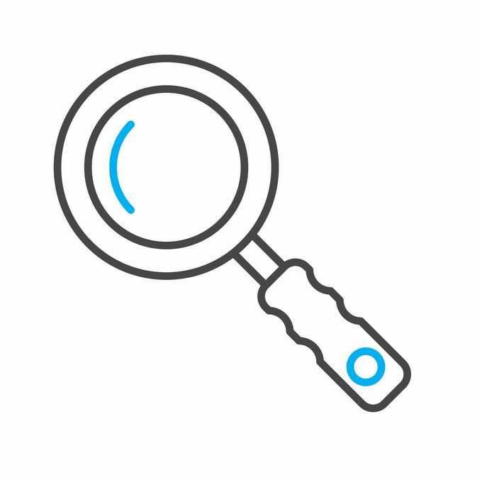 黑色蓝色线条放大镜图标2511168矢量图片免抠素材免费下载