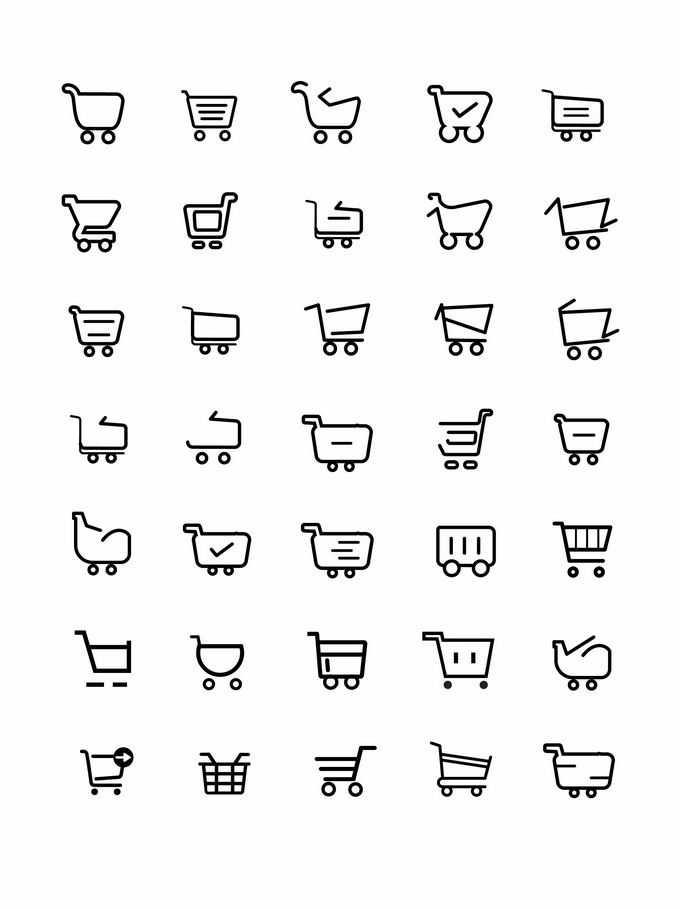 35款黑色线条风格超市购物车购物篮图标4190802矢量图片免抠素材免费下载
