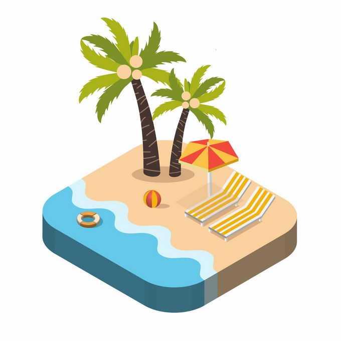2.5D风格海滩沙滩上的躺椅和椰子树热带海岛旅游3082164矢量图片素材