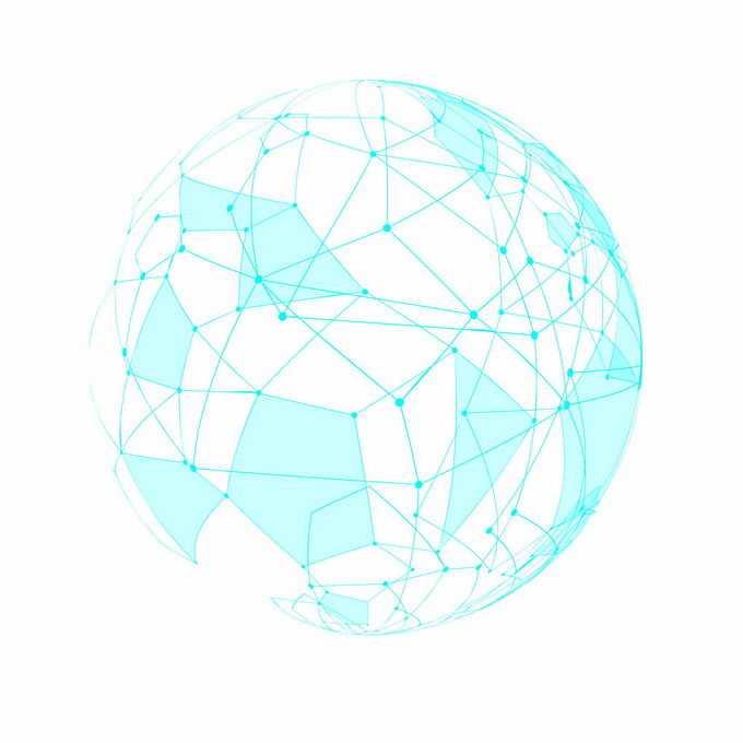 蓝色多边形线条地球圆球图案7450830矢量图片素材