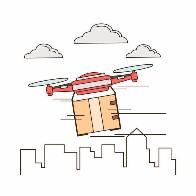 扁平化风格线条城市和上空的无人机送货插画7123653矢量图片素材