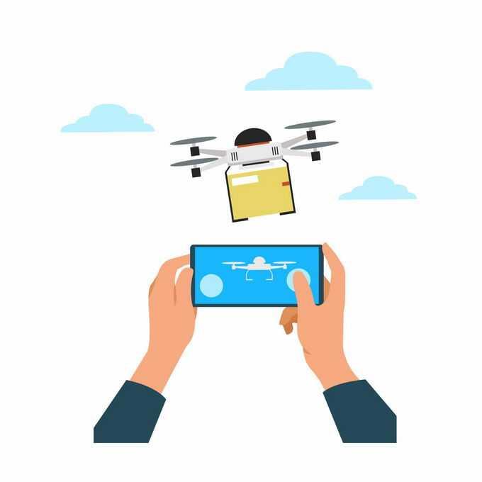 双手正在手机上操作无人机送货4994019矢量图片素材