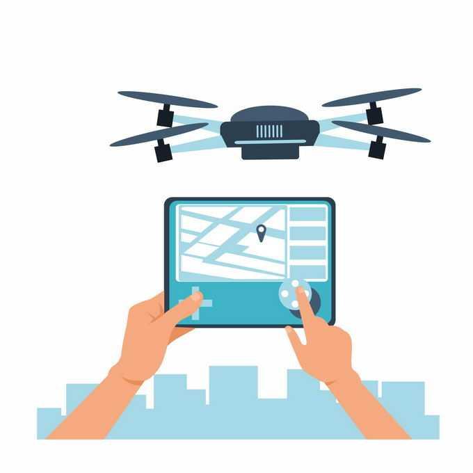 双手在平板电脑上操作无人机送货6332060矢量图片素材