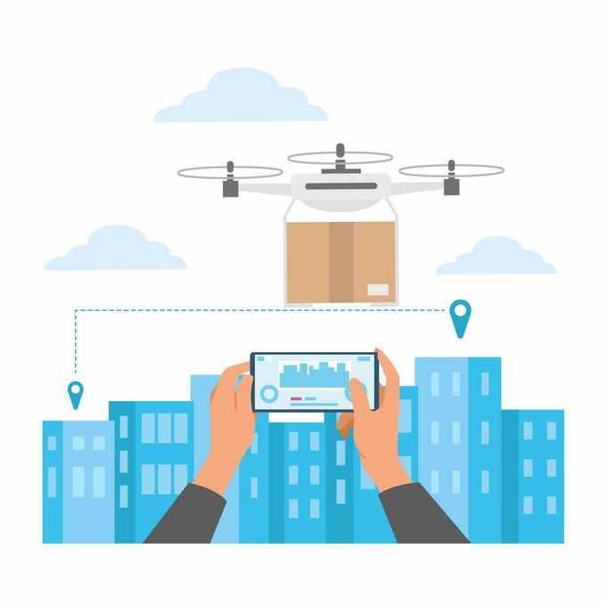 蓝色城市天际线背景双手正在手机上操作无人机送货5020971矢量图片素材