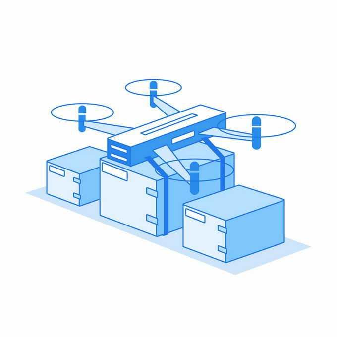 2.5D风格蓝色无人机送货8628115矢量图片素材