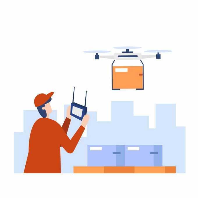 扁平化风格快递员正在操作无人机送货4006801矢量图片素材