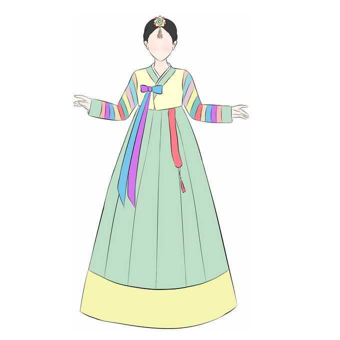 身穿传统民族服饰的朝鲜族女孩手绘插画8389050图片素材