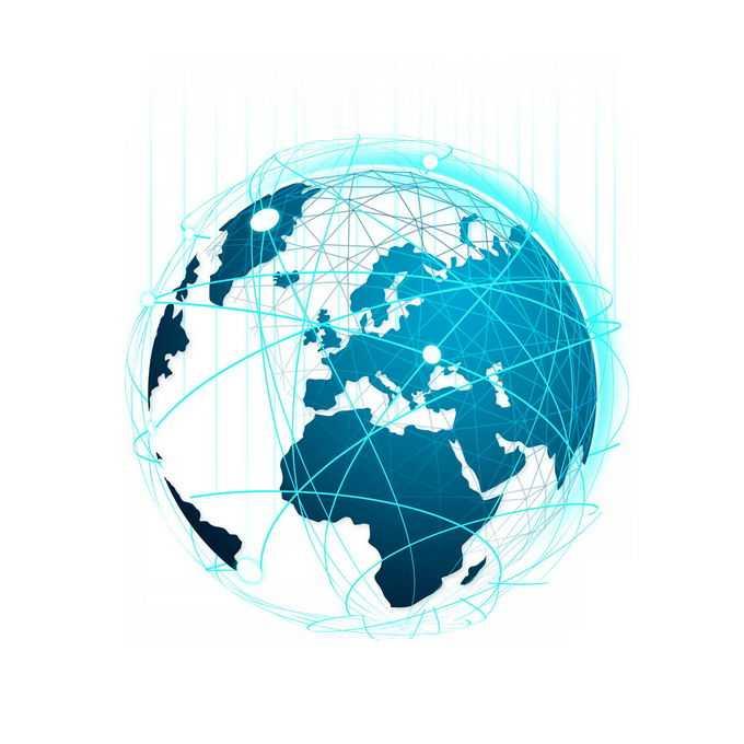 高科技风格蓝色地球和发光线条包裹6837282图片素材