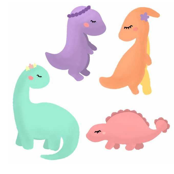 超可爱的卡通暴龙梁龙剑龙鸭嘴龙等恐龙儿童画8853709图片素材