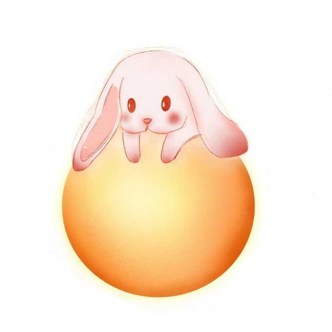 肌理插画风格黄色月亮上趴着的卡通小兔子玉兔4720822图片素材