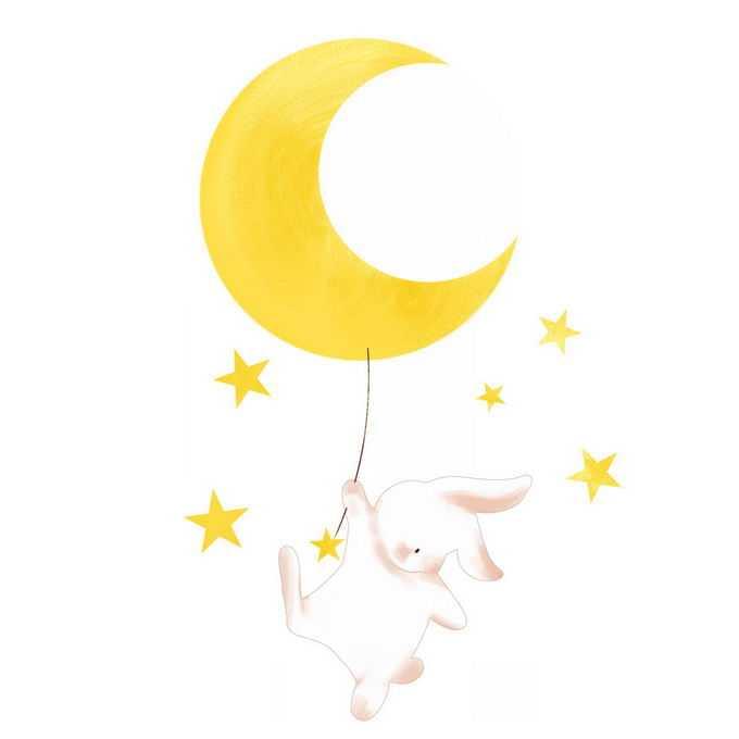 肌理插画风格黄色月亮弯月下挂着的卡通小兔子玉兔2525031图片素材
