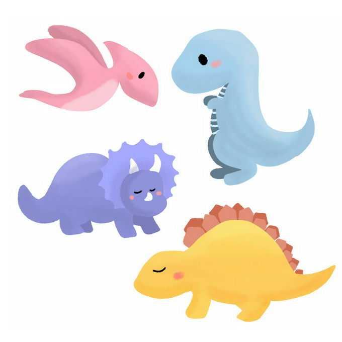 翼龙暴龙三角龙剑龙等超可爱卡通恐龙儿童画3166617图片素材