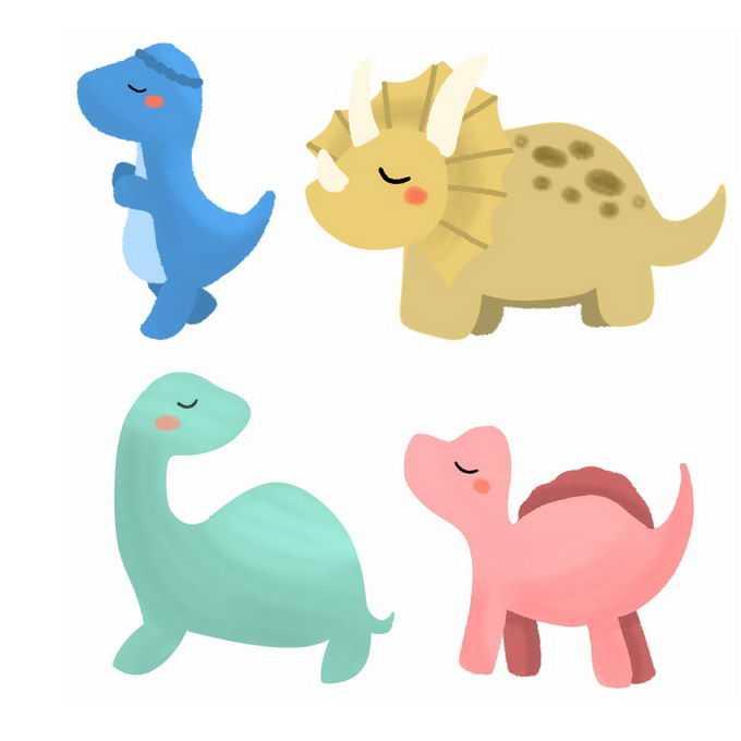 盔甲龙三角龙等超可爱卡通恐龙儿童画5433148图片素材