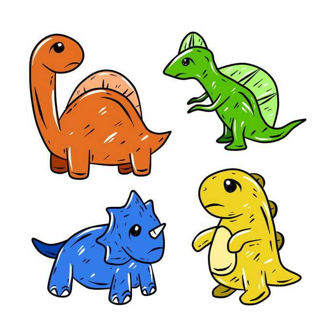 手绘风格三角龙霸王龙等超可爱卡通恐龙儿童画6688210图片素材