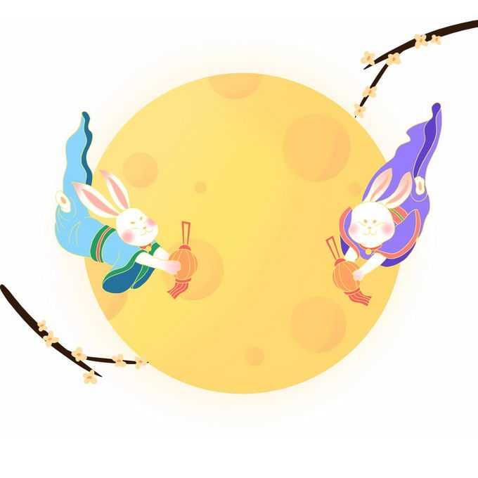 中秋节黄色月亮和飞天的卡通玉兔2286252图片素材