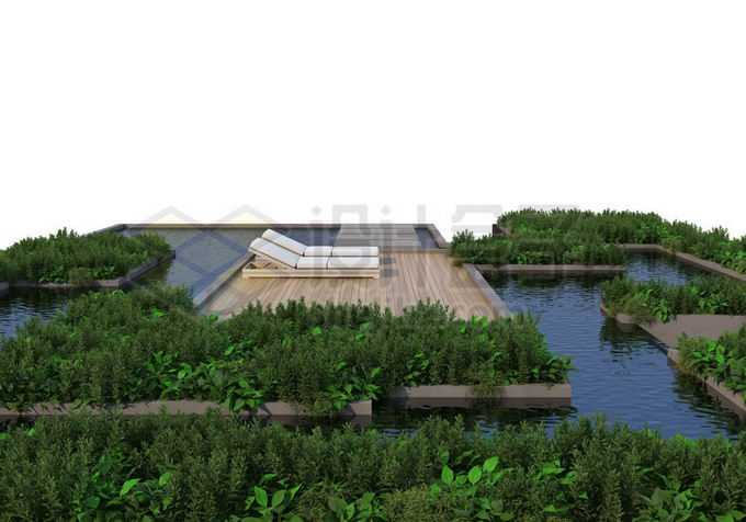 人与自然和谐共处绿色植物装点的休闲游泳池1219917PSD免抠图片素材