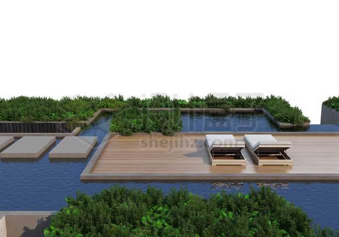 人与自然和谐共处绿色植物装点的休闲游泳池天然氧吧2253156PSD免抠图片素材