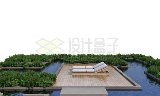 人与自然和谐共处绿色植物装点的休闲游泳池木制平台和躺椅4250773PSD免抠图片素材