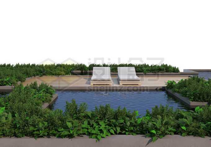 人与自然和谐共处绿色植物装点的休闲游泳池木制平台5432463PSD免抠图片素材