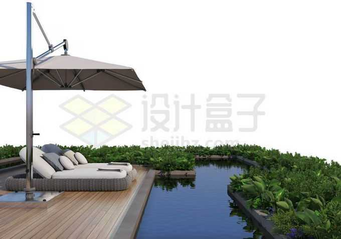 人与自然和谐共处绿色植物装点的休闲游泳池和遮阳伞躺椅9420093PSD免抠图片素材