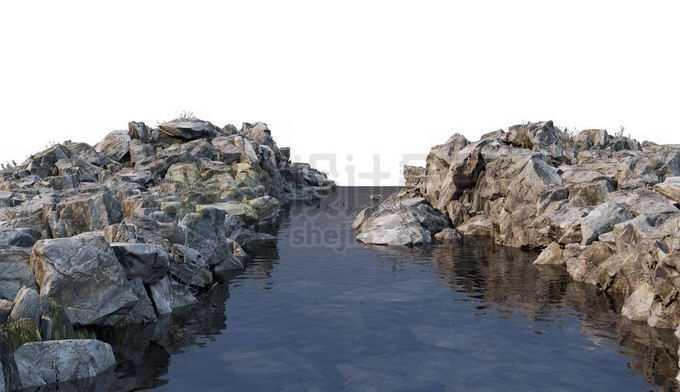 河流小河两岸的乱石堆大石块3246214PSD免抠图片素材