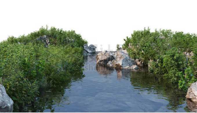河流小河两岸的石头和灌木丛风景7673926PSD免抠图片素材