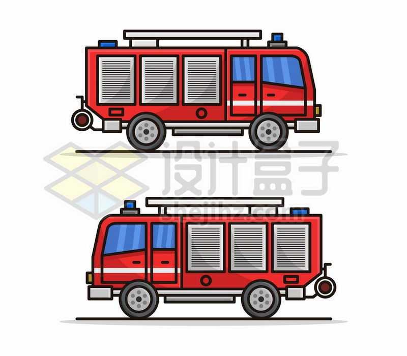 2款MBE风格卡通消防车侧视图1276341矢量图片免费下载