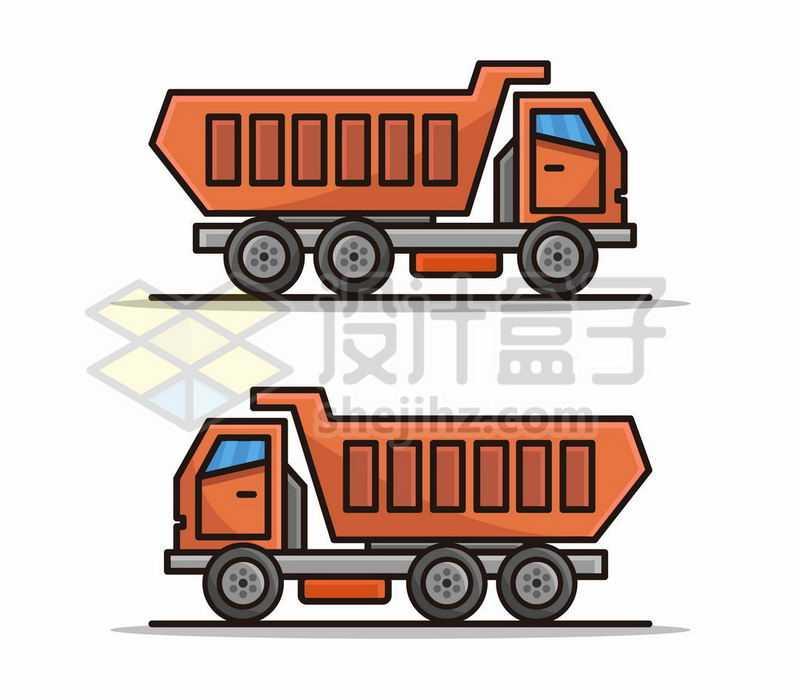 2款MBE风格卡通渣土车大卡车侧视图5913217矢量图片免费下载