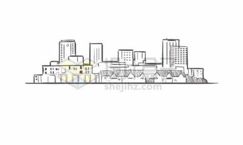 黑色线条手绘城市建筑天际线手绘插画9812582矢量图片免费下载
