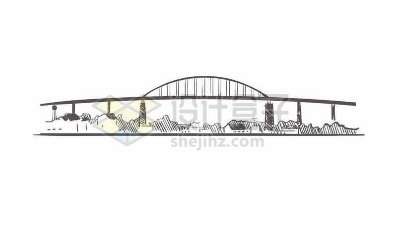 黑色线条手绘城市建筑天际线大桥手绘插画1198234矢量图片免费下载
