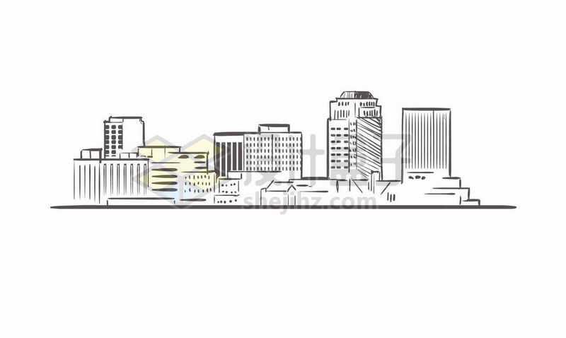 黑色线条手绘城市高楼大厦天际线手绘插画9423146矢量图片免费下载