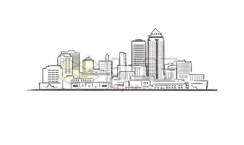 黑色线条手绘城市高楼大厦天际线手绘插画2954636矢量图片免费下载