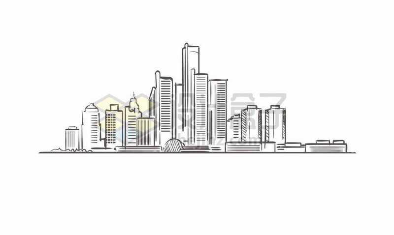 黑色线条手绘城市高楼大厦天际线手绘插画1712280矢量图片免费下载