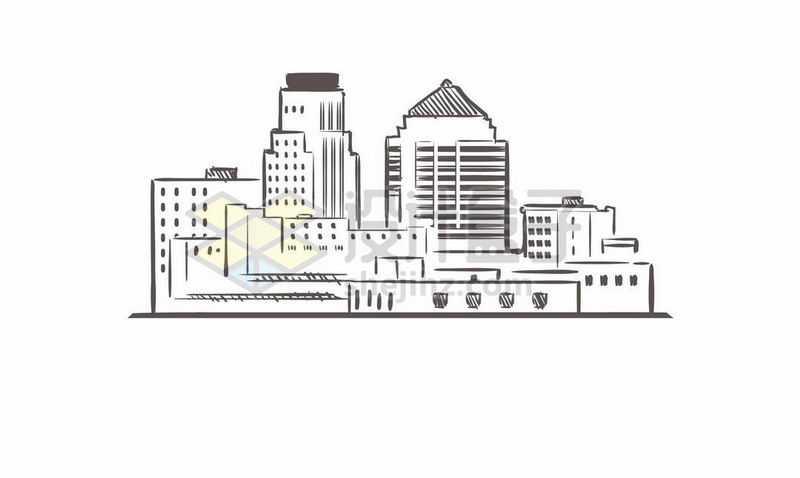 黑色线条手绘城市高楼大厦天际线手绘插画7378720矢量图片免费下载