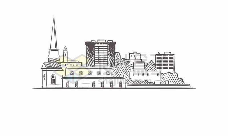 黑色线条手绘城市高楼大厦天际线手绘插画5961021矢量图片免费下载