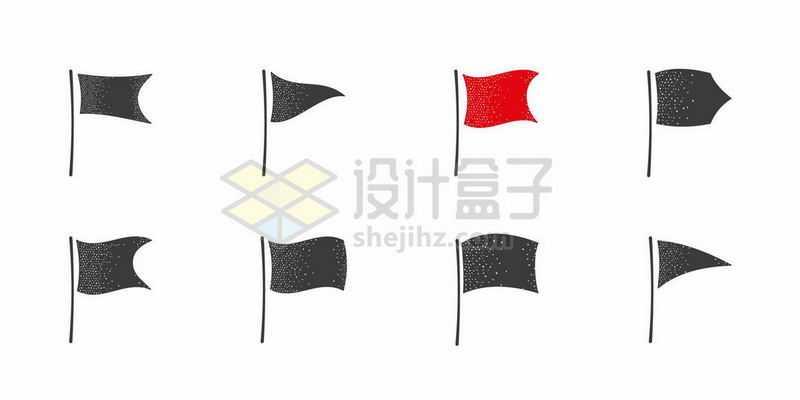 8款卡通旗帜剪影红旗图案8203793矢量图片免费下载