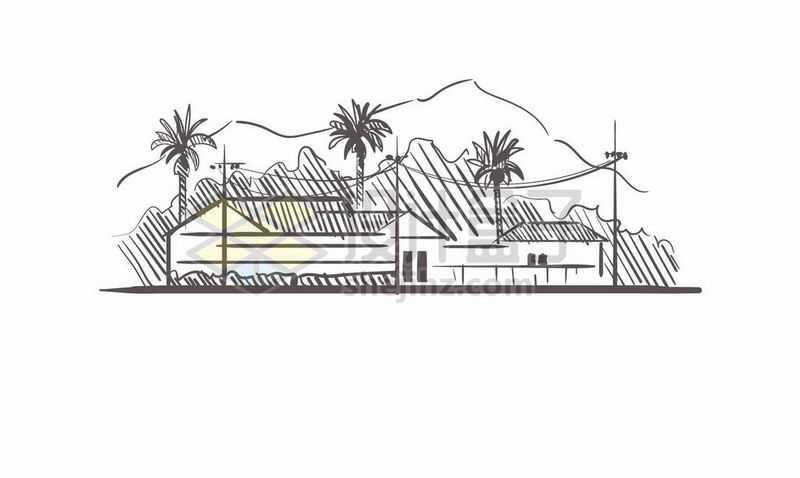 黑色线条手绘热带旅游度假村手绘插画9818411矢量图片免费下载