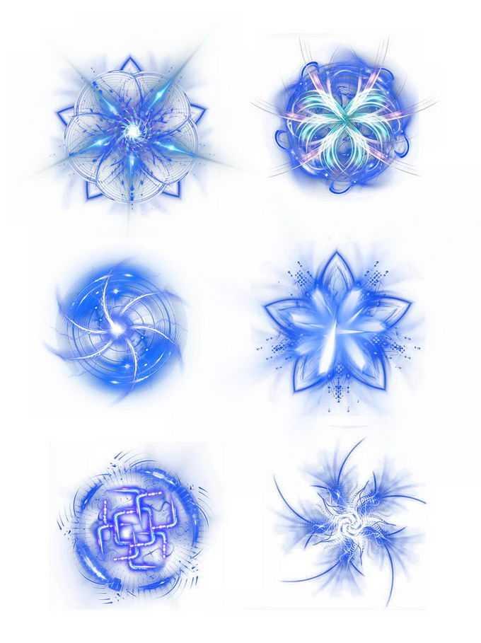 6款绚丽的蓝色光线抽象图案效果7624431免抠图片素材