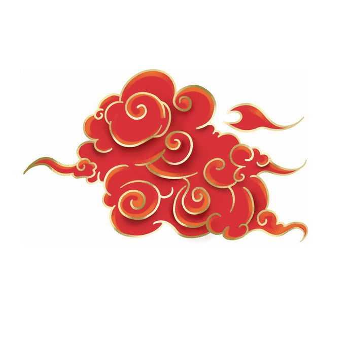 金丝线描边风格的红色祥云图案5281692免抠图片素材