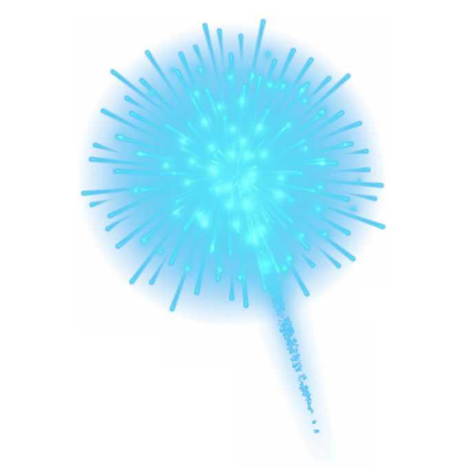 绚丽的天蓝色烟花爆炸效果9702262免抠图片素材