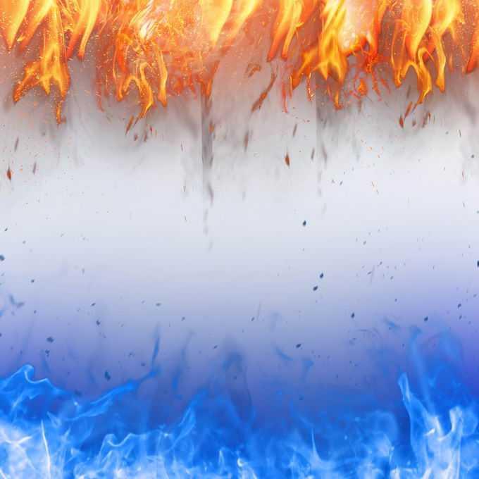 燃烧着的红色和蓝色火焰效果装饰4168141免抠图片素材